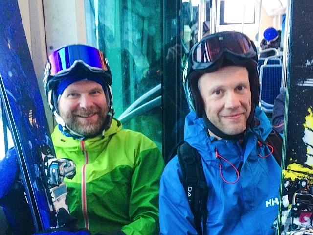 Andrew and Jim on the snow bus